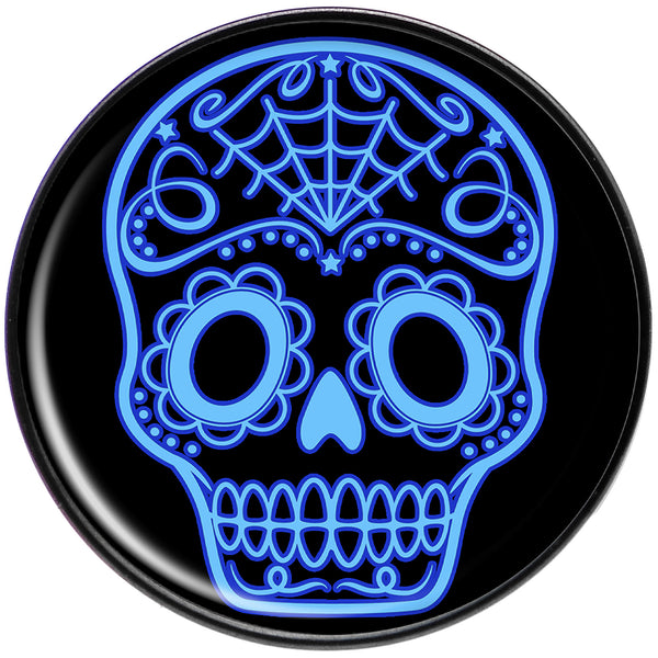 Black and Blue Sugar Skull Black Anodized Barbell Tongue Ring