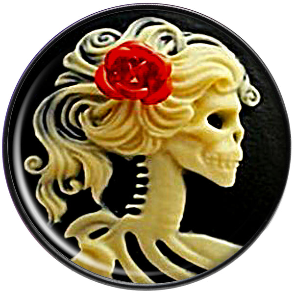 Red Rose Flower Skeleton Cameo Black Anodized Barbell Tongue Ring
