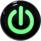 Power Button Glow in the Dark Black Anodized Barbell Tongue Ring
