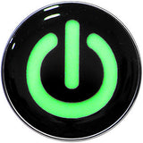 Power Button Glow in the Dark Logo Stainless Steel Barbell Tongue Ring