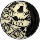 Gothic Rose Skull Glow in the Dark Logo Stainless Steel Barbell Tongue Ring