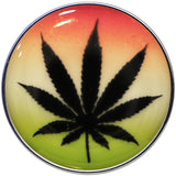 Ganja Leaf Glow in the Dark Logo Stainless Steel Barbell Tongue Ring