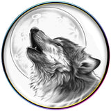 Black and White Howling Wolf Rainbow Anodized Barbell Tongue Ring
