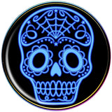 Black and Blue Sugar Skull Rainbow Anodized Barbell Tongue Ring