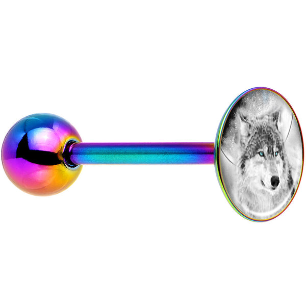 Blue Eyed Night Wolf Rainbow Anodized Barbell Tongue Ring