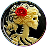 Red Rose Flower Skeleton Cameo Rainbow Anodized Barbell Tongue Ring