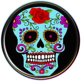 Flowering Blue Sugar Skull Rainbow Anodized Barbell Tongue Ring