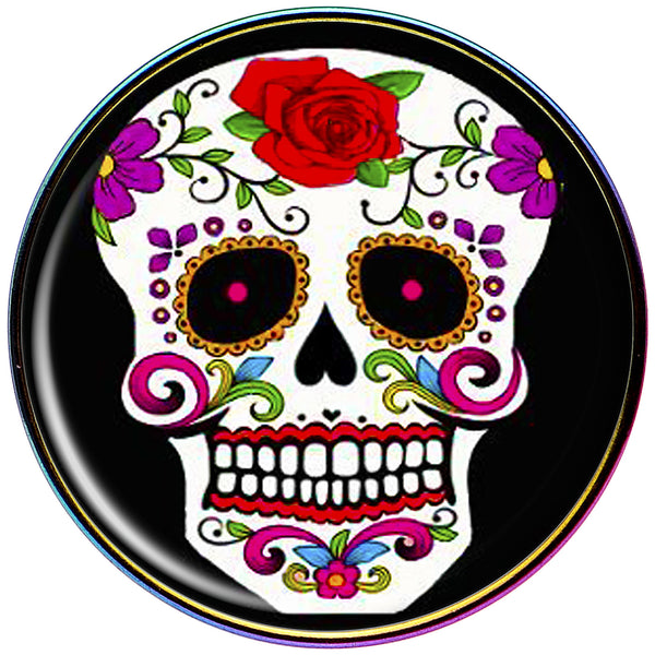 Flowering White Sugar Skull Rainbow Anodized Barbell Tongue Ring