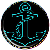 Black and Aqua Nautical Anchor Rainbow Anodized Barbell Tongue Ring