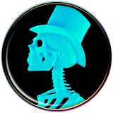 Aqua Skeleton with Top Hat Cameo Rainbow Anodized Barbell Tongue Ring