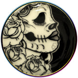 Gothic Rose Skull Glow in the Dark Rainbow Anodized Barbell Tongue Ring