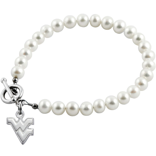 Collegiate University of West Virginia White Freshwater Pearl Bracelet