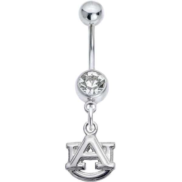 Collegiate Auburn Tigers Clear Gem Belly Button Ring