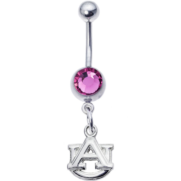 Collegiate Auburn Tigers Pink Gem Belly Button Ring