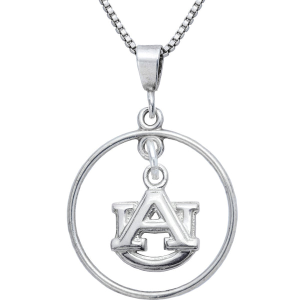 Sterling Silver Open Drop Collegiate Auburn Necklace