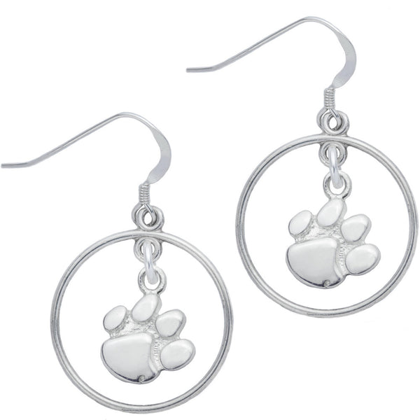 Sterling Silver Collegiate Clemson Open Drop Earrings