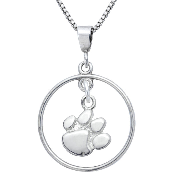 Sterling Silver Open Drop Collegiate Clemson Necklace