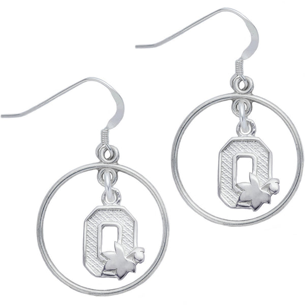 Sterling Silver Collegiate Ohio State Open Drop Earrings
