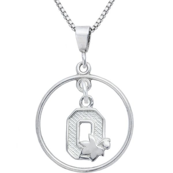 Sterling Silver Open Drop Collegiate Ohio State Necklace