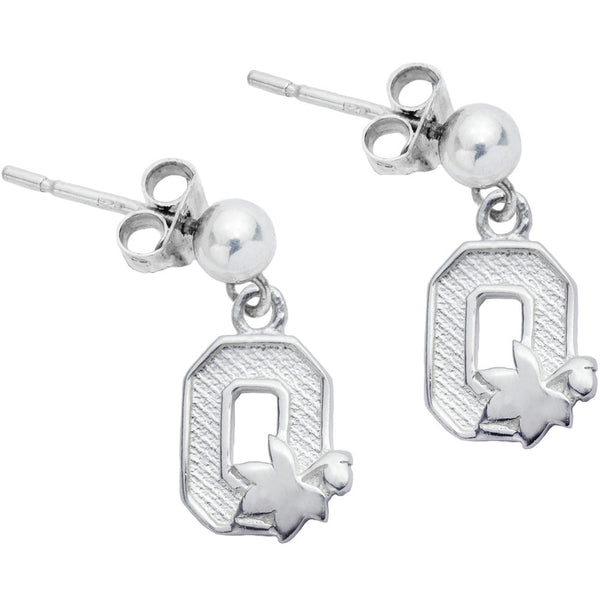Sterling Silver Collegiate Ohio State Dangle Stud Earrings
