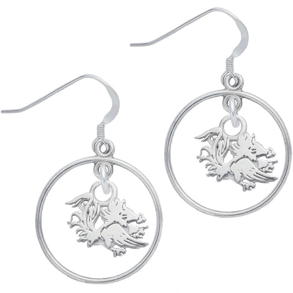 Sterling Silver Collegiate South Carolina Open Drop Earrings