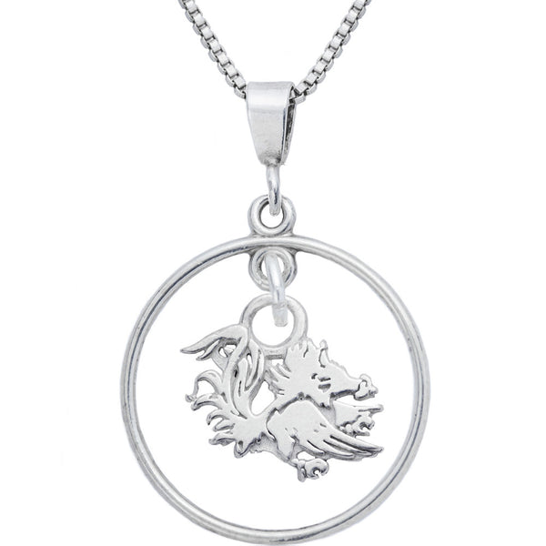 Sterling Silver Open Drop Collegiate South Carolina Necklace