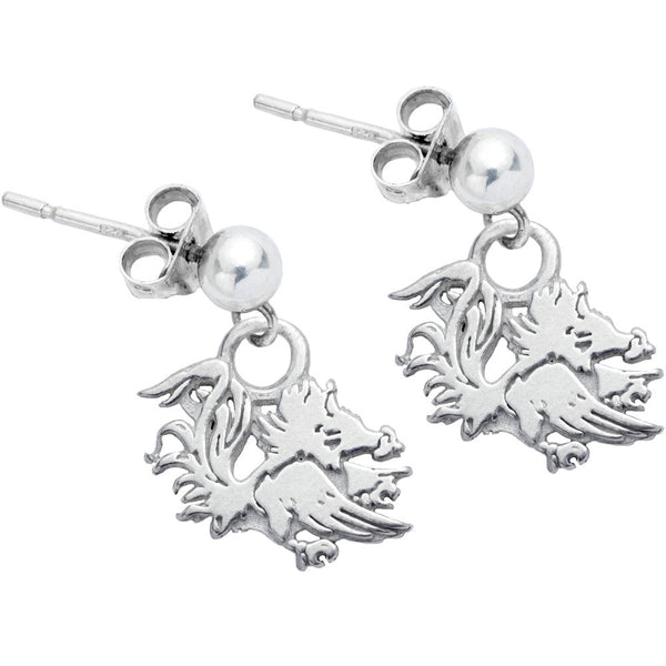 Sterling Silver Collegiate South Carolina Dangle Stud Earrings