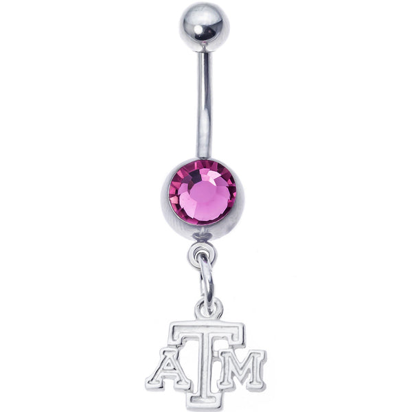 Collegiate Texas A&M Pink Gem Belly Button Ring
