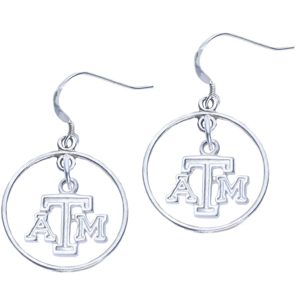 Sterling Silver Collegiate Texas A&M  Open Drop Earrings