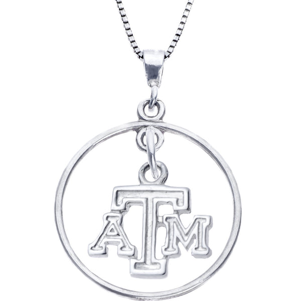 Sterling Silver Open Drop Collegiate Texas A&M Necklace