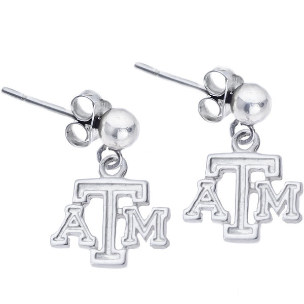 Sterling Silver Collegiate Texas A&M Dangle Stud Earrings
