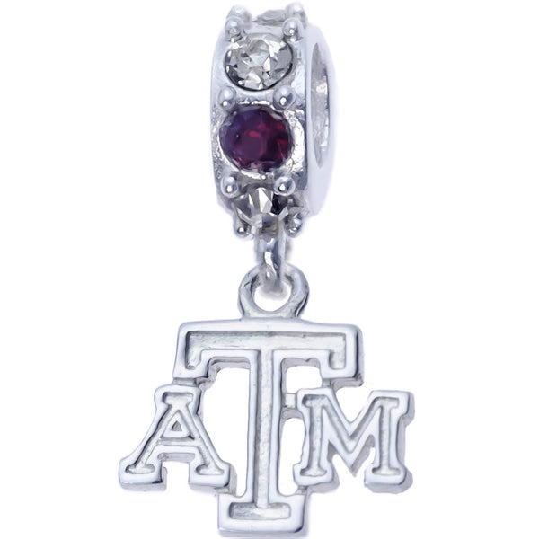 Sterling Silver Spirit Texas A&M Charm Slider Bead