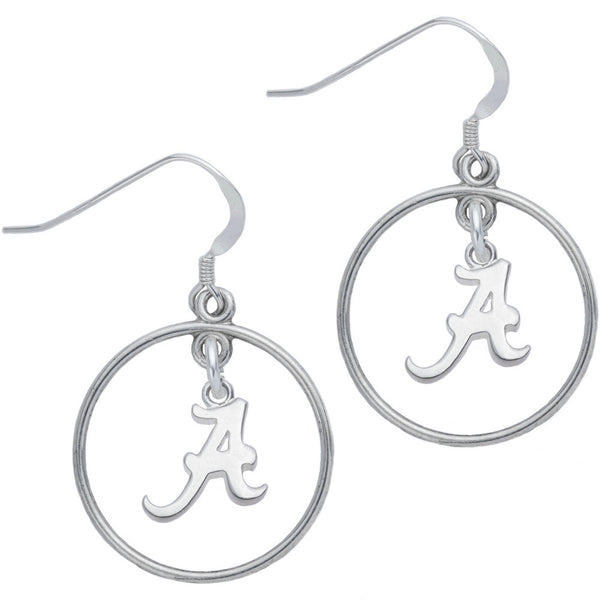 Sterling Silver Collegiate Alabama Open Drop Earrings