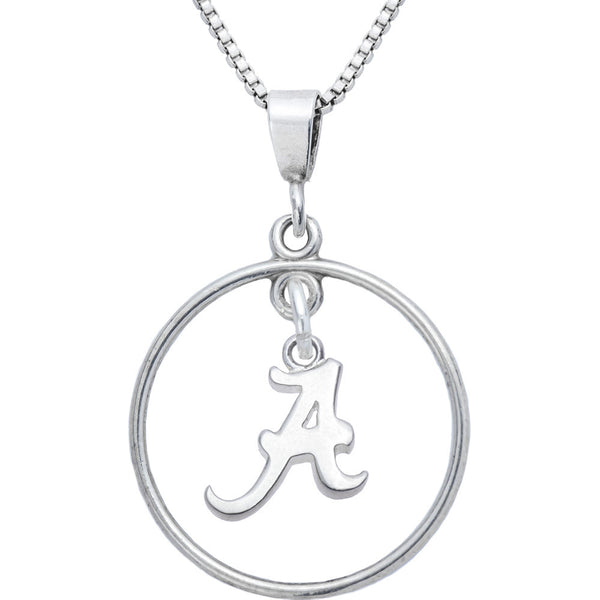 Sterling Silver Open Drop Collegiate Alabama Necklace
