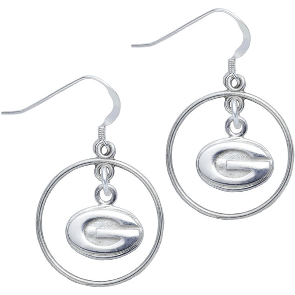 Sterling Silver Collegiate Georgia Open Drop Earrings