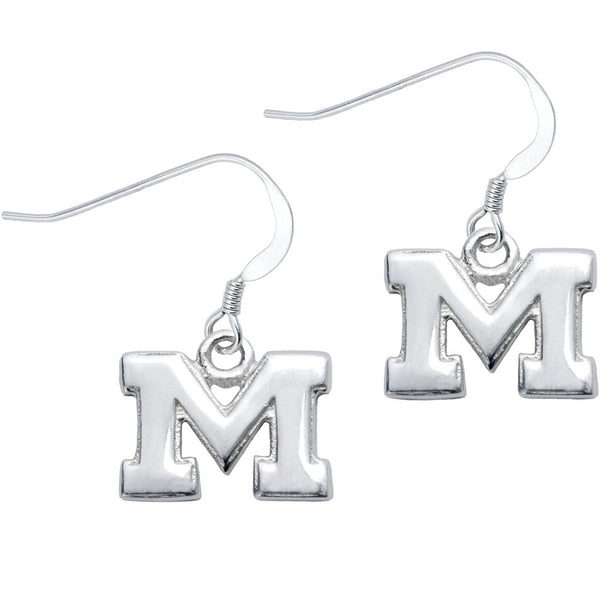 Sterling Silver Collegiate Michigan Dangle Earrings