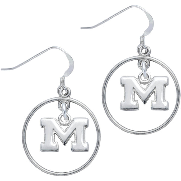 Sterling Silver Collegiate Michigan Open Drop Earrings
