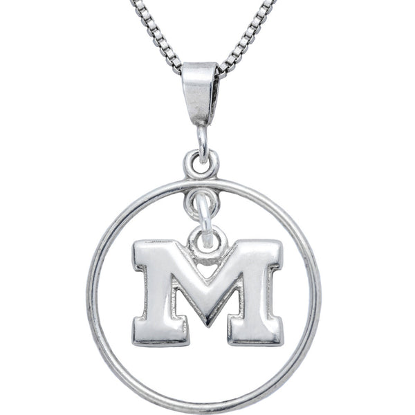 Sterling Silver Open Drop Collegiate Michigan Necklace