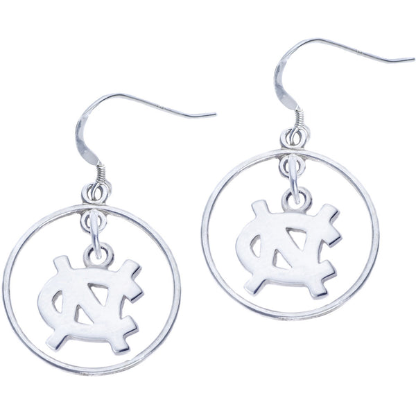 Sterling Silver Collegiate UNC Open Drop Earrings