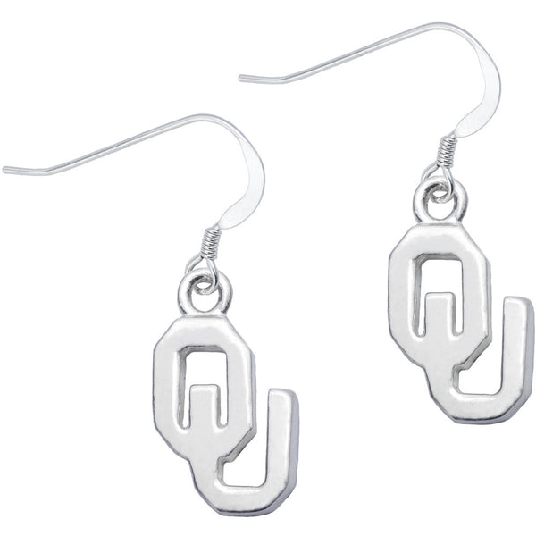 Sterling Silver Collegiate Oklahoma Dangle Earrings
