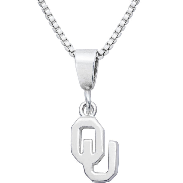 Sterling Silver Charm Collegiate Oklahoma Necklace