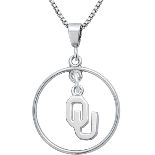 Sterling Silver Open Drop Collegiate Oklahoma Necklace