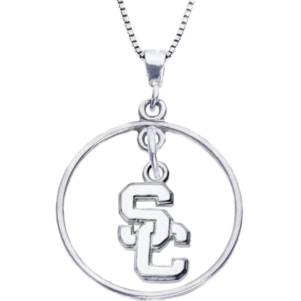 Sterling Silver Open Drop Collegiate USC Necklace