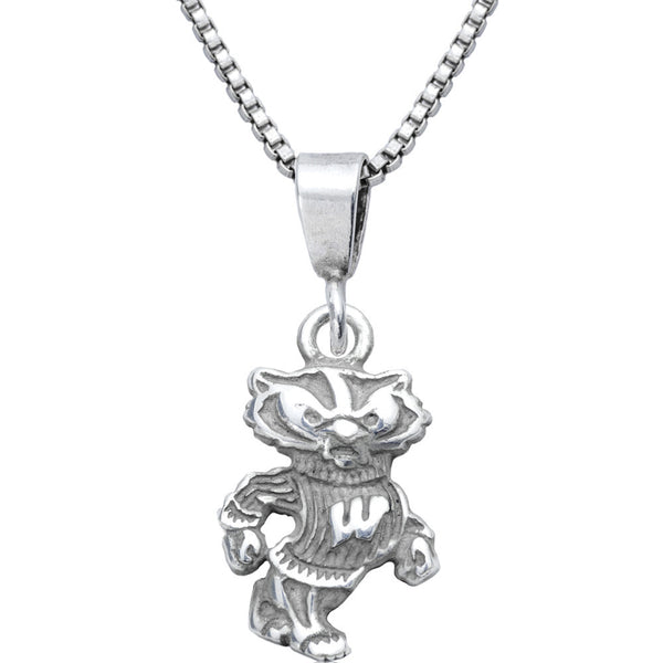 Sterling Silver Charm Collegiate Wisconsin Necklace