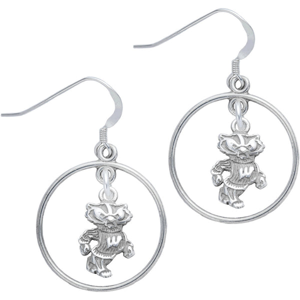Sterling Silver Collegiate Wisconsin Open Drop Earrings