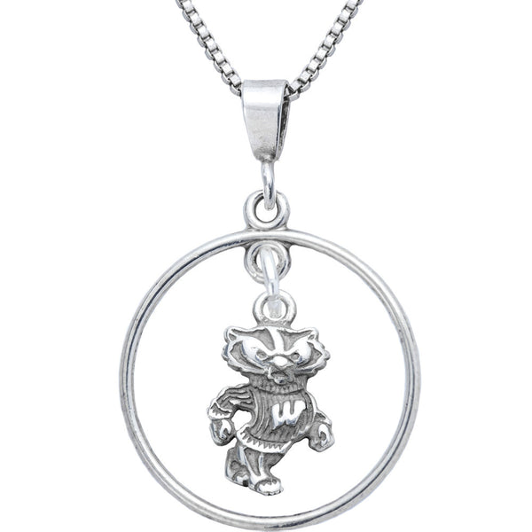 Sterling Silver Open Drop Collegiate Wisconsin Necklace