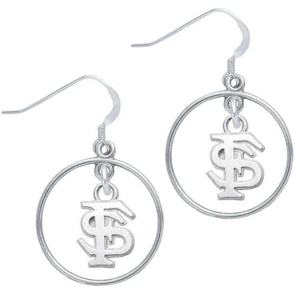 Sterling Silver Collegiate Florida State Open Drop Earrings
