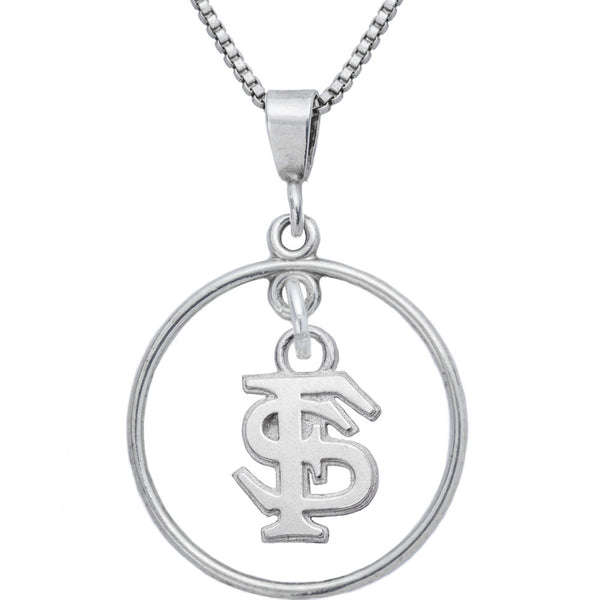 Sterling Silver Open Drop Collegiate Florida State Necklace