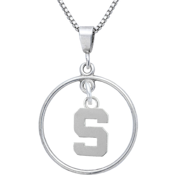 Sterling Silver Open Drop Collegiate Michigan State Necklace