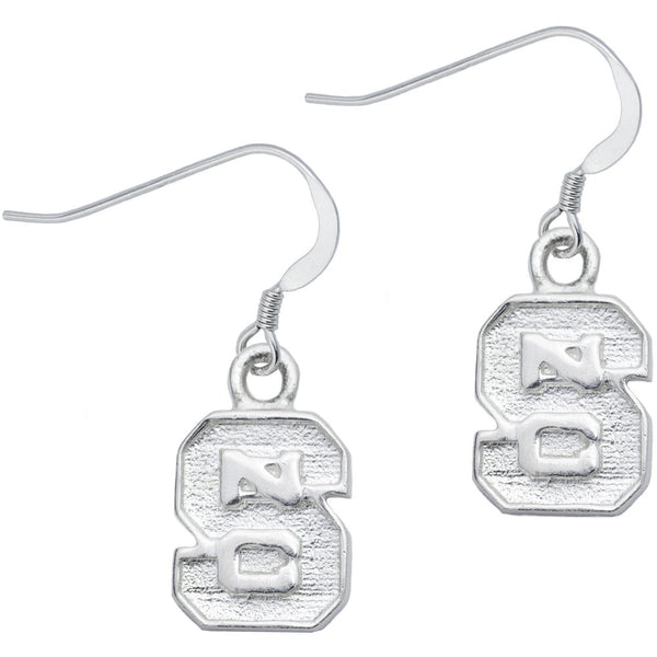 Sterling Silver Collegiate NC State Dangle Earrings